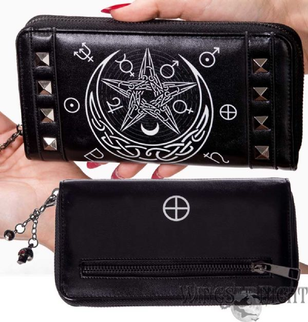 BANNED Ladies Gothic Moon Pentagram Hollow Purse
